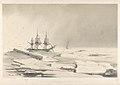 Voyage au pole sud et dans l'Oceanie. Atlas Pittoresque. Pl.22. Les corvettes se halant dans les glaces de la banquise 6 Fevrier 1838 (Parages Antarctiques). (shows Astrolabe and Zelee) RMG PY0879.jpg