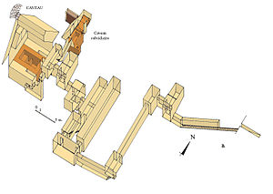 Southern South Saqqara pyramid - Isometric view of the hypogeum
