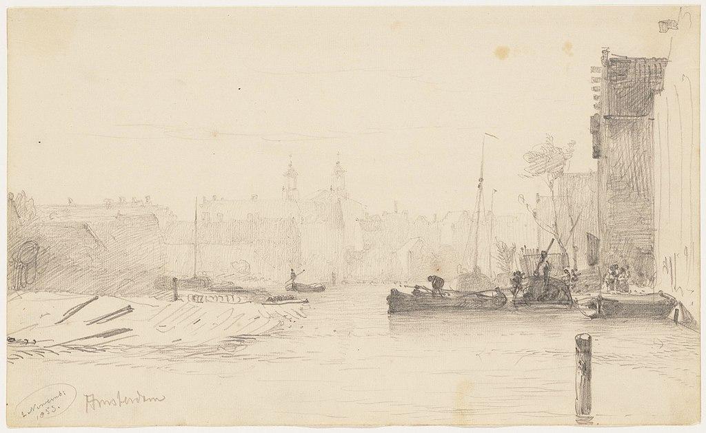 Dessin d'Amsterdam par W.A. van Deventer aux archives municipales d'Amsterdam (1853).