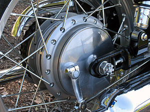 Drum brake - A rear drum brake on a Kawasaki W800 motorcycle