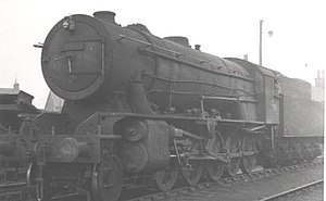 WD Austerity 2-10-0 - Image: WD 2 10 0 90768 at Motherwell shed in 1958