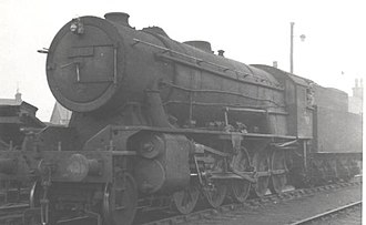 BR ex-WD Austerity 2-10-0 - 90768 at Motherwell shed in 1958
