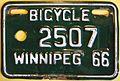 WINNIPEG MANITOBA 1966 -BICYCLE PLATE - Flickr - woody1778a.jpg
