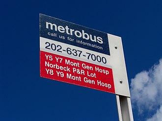 Metrobus (Washington, D.C.) - Metrobus's old stop marker design, seen here at Glenmont station.