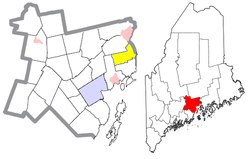 Location of Prospect (in yellow) in Waldo County and the state of Maine