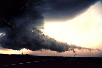 Wall cloud - A wall cloud with tail cloud.