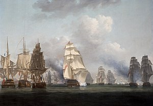 Graham Moore (admiral) - Battle of Tory island on 12 October 1798 by Nicholas Pocock; Moore took part in the action