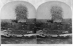 Dust explosion - 1878 stereograph rendering of the Great Mill Disaster
