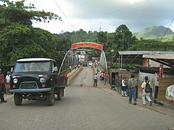 Bridge and entrance to the city of Waslala in 2008.