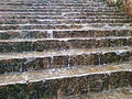 Water flowing through steps to Simhachalam temple.jpg