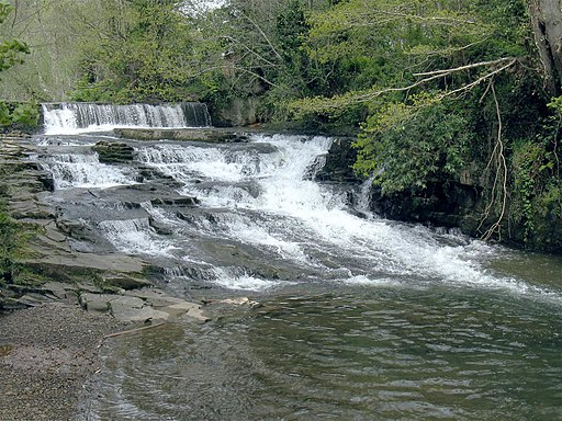 Weir and cascades on the Lower Clydach River at Forge Fach (geograph 2934050)
