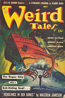 "Cover of Weird Tales in May 1942, volume 36, number 5; with a painting of a red-hulled ship with arms and a face clawing at a submarine.  The caption reads ""The Rogue Ship with a Sub-Hating Soul!…"