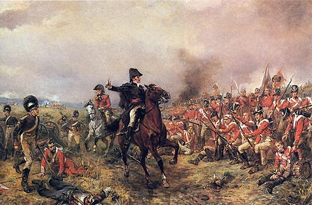 The Duke of Wellington at the Battle of Waterloo, the battle which brought an end to the Napoleonic wars Wellington at Waterloo Hillingford.jpg