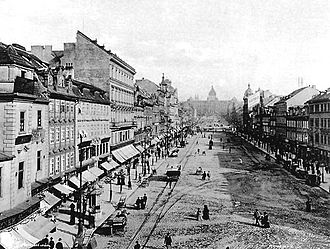 Wenceslas Square - Tram line at Wenceslas Square in the 19th century