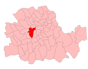 Westminster Abbey by-election, 1924 - Abbey in the County of London, showing boundaries used in 1924
