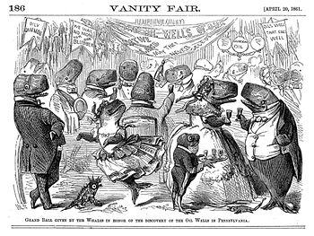 Vignetta pubblicata su Vanity Fair nel 1861 mostrante capodogli che festeggiano l'avvento dei pozzi petroliferi, la cui produzione blocca la loro caccia per ottenere la carne blubber da cui produrre l'olio di balena, sostituito dal petrolio