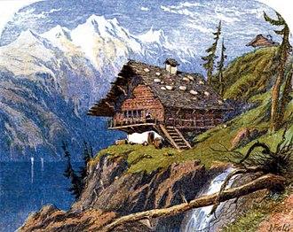Edmund Evans - Image: Where the bleak Swiss their stormy mansions tread