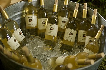 White wine being chilled down to serving tempe...