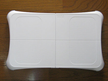 The Wii Balance Board, which is bundled with Wii Fit, measures both a person's weight and center of balance. Wii Balance Board.JPG