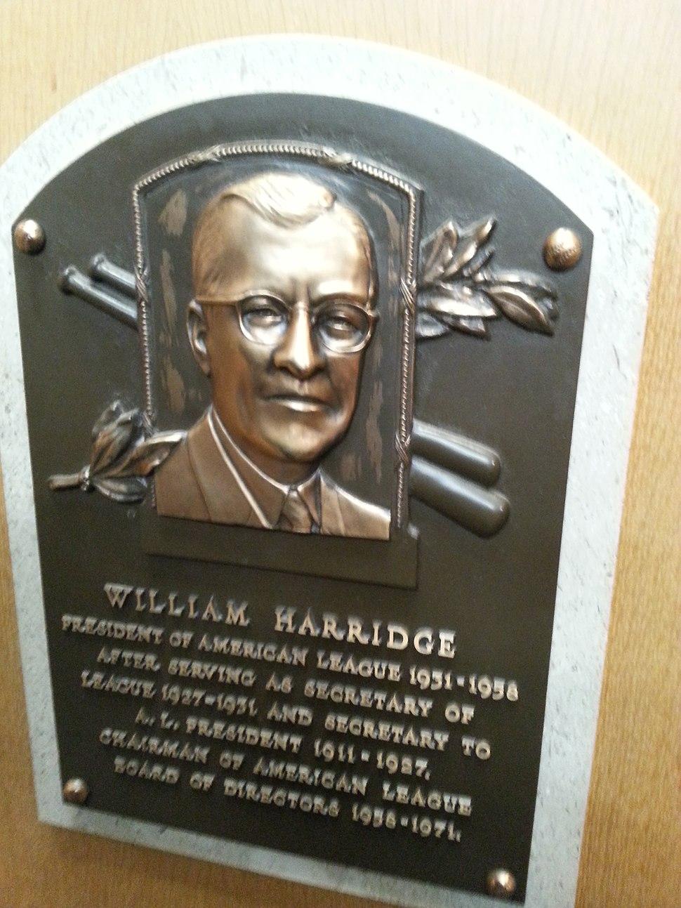 William Harridge plaque HOF