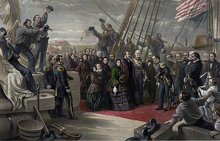 ビクトリア女王は、再発見された後、1856年12月16日にレゾリュートを訪れ、アメリカ人によってイギリスに戻った。