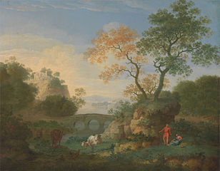 A Landscape with Distant Classical Ruins, a Bridge, Figures, and Cattle