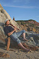 William Waterway playing Native American Flute at Martha's Vineyard clay cliffs.jpg