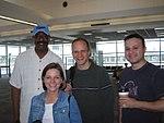 Willie Brown, Jen Little, Walter, Greg Roberts at the airport (191765304).jpg