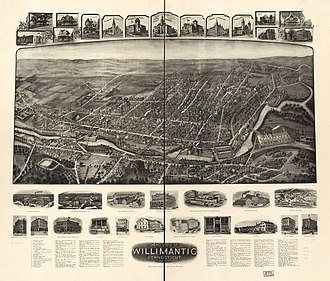 Willimantic, Connecticut - Aerial view of Willimantic, 1909