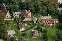 An aerial photograph of the ruins of Wilmington Priory