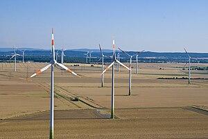 A Wind farm. The wind turbines are manufacture...