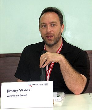 Jimmy Wales (left) during Wikimania press conf...