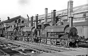 Wolverton railway works - View northward ca.1954, outside the Carriage Works. The locomotives are ex-LNW 'Special' 2F 0-6-0 saddle-tanks, Carriage Dept. Nos. 3, 6 and 7.