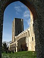 Wymondham Abbey - west tower viewed through ruined doorway - geograph.org.uk - 675429.jpg