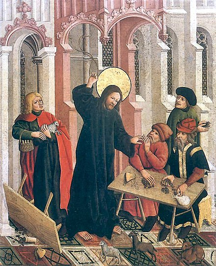 This 15th-century painting depicts money-dealers at a banca (bench) during the Cleansing of the Temple. Wypedzenie.jpg