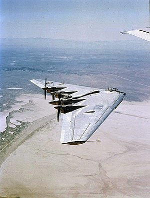 Flying wing - The Northrop YB-35 bomber prototype began its development during World War II.