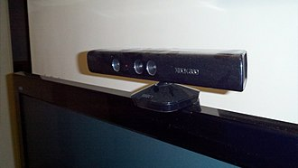 Input device - Microsoft Kinect sensor seen here on a TV, works by detecting human motion visually