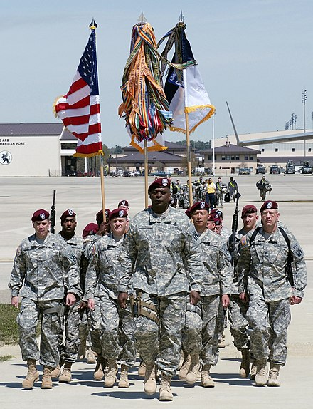 The XVIII Airborne Corps command group returns home from Operation Iraqi Freedom in 2009 XVIII Abn. Corps headquarters, 2009.jpg