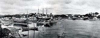Yarmouth, Maine - A circa-1870 view of Yarmouth harbor, taken from where Yankee Marina — off Lafayette Street — is now, looking directly north to the East Main Street bridge