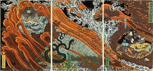 Duel de magie, deux magiciens transformistes s'affrontent, l'un prenant la forme d'un serpent, l'autre d'un rapace. peint par Yoshitsuya Ichieisai — Japon, années 1860.