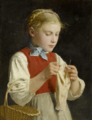 Young Girl Knitting - Albert Anker.png