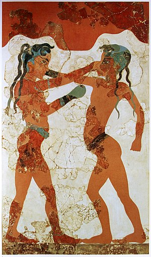 Boxing - A painting of Minoan youths boxing, from an Akrotiri fresco circa BCE 1650, the earliest documented use of boxing gloves.