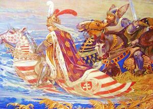 Sigismund, Holy Roman Emperor - King Sigismund of Hungary during the battle of Nicopolis in 1396. Painting by Ferenc Lohr (1896), main hall of the Castle of Vaja