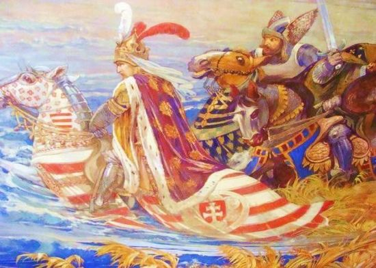 King Sigismund of Hungary during the battle of Nicopolis in 1396. Painting by Ferenc Lohr (1896), main hall of the Castle of Vaja. Zsigmond Nikapolyban.jpg