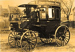 The world's first motorized bus - a Benz truck modified by the Netphener Omnibusgesellschaft in Netphen, Germany (1895)