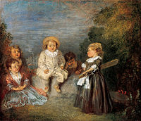 'Heureux age! Age d'or (Happy Age! Golden Age)', oil on panel painting by Jean-Antoine Watteau, 1716-20, Kimbell Art Museum.jpg