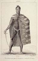 'Ooro, One of the Principal Officers of Kamehameha II', pen and ink wash over graphite by Jacques Arago, 1819, Honolulu Academy of Arts.jpg