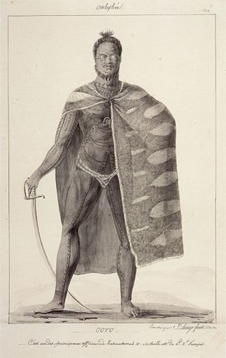 Jacques Arago - Image: 'Ooro, One of the Principal Officers of Kamehameha II', pen and ink wash over graphite by Jacques Arago, 1819, Honolulu Academy of Arts