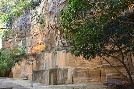 Sydney, Australia lies on Triassic shales and sandstones. Almost all of the exposed rocks around Sydney belong to the Triassic Sydney sandstone. (1)Saunders Quarry-1.jpg