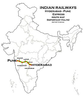 (Hyderabad - Pune) Express Route map